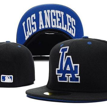 DCCKBE6 Los Angeles Dodgers New Era MLB Authentic Collection 59FIFTY Cap Black-Blue LA