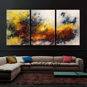 """Yellow Blue Abstract Painting 72""""Oil Painting on Canvas Art Yellow Original Large Wall Art  Modern Art for Office Decor or Living Room Decor"""
