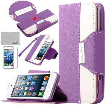 Pandamimi ULAK(TM) Purple and White Card Holder PU Leather Wristlet Wallet Type Case Cover for Apple iPod Touch 5 5th with Screen Protector (cleaning cloth with ULAK Logo)