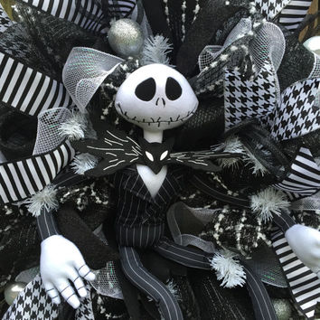 Jack Skellington Wreath, Nightmare Before Christmas Wreath, NMBC Wreath, Jack Skellington Decor, Christmas Mesh Wreath, Front Door Wreath