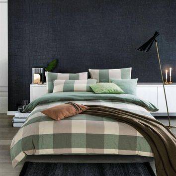 ac PEAPON Hot Deal Bedroom On Sale Bedding Cotton Simple Design Rinsed Denim Cotton Linen Plaid Bed Sheet Quilt Case Bedding Set [6451769606]