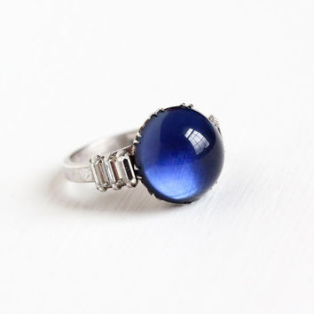 Vintage Art Deco Sterling Silver Simulated Sapphire Cabochon Ring - 1930s Size 6 Blue Glass Stone & White Rhinestone Statement Jewelry