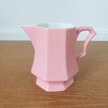 Independence Ironstone Interpace pink Mary Jane creamer, small pitcher