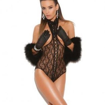 Elegant Moments Vivace lace cupless teddy w/lace up front and open back black o/s