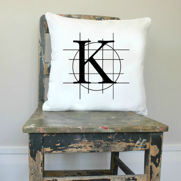 White Letter pillow cover, initial cushion, letter pillow, Industrial decor, personalized cushion cover, colour options, monogram