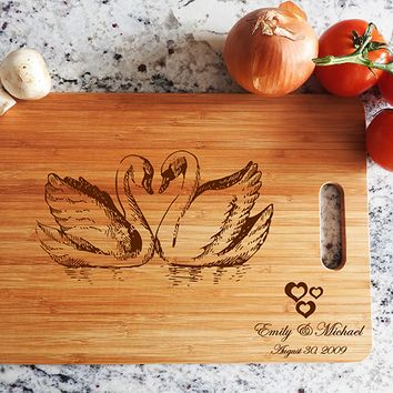 ikb503 Personalized Cutting Board Wood wooden wedding gift anniversary date names birds swans