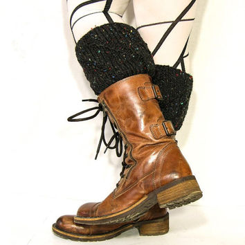 Black Tweed Boot Cuffs boot toppers knit boot socks mottled black cable knit ribbed zig zag boot toppers boot cozy teamt tagt team