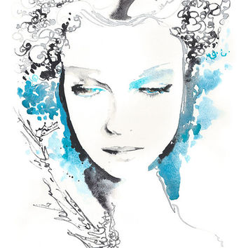 Original Watercolor Fashion, Watercolor Fashion Portrait Titled: Vintageink2