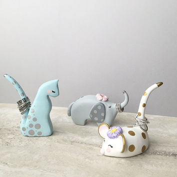 Animal Ring Holder, Hand Painted Clay Sculptures, Unique Gifts, Lucky Elephant, Cat Ring Container, Mouse Ring Stand, Mini Jewelry Display