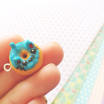 Kawaii Blue Blueberry Donut Polymer Clay Charm