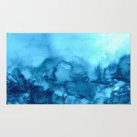 INTO ETERNITY, TURQUOISE Colorful Aqua Blue Watercolor Painting Abstract Art Floral Landscape Nature Rug by EbiEmporium