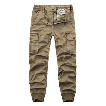 Mens Cargo Pants Men Elastic Waist Pants Man 2017 Casual Fashion Joggers Sweatpants black Harem Pants Army Trousers for Men 38