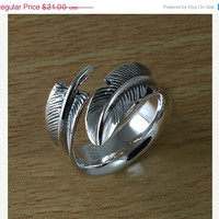 Feather 925 sterling silver ring, Adjustable ring from size 4 to 12, Personalized Ring