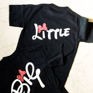 sorority t shirt, big little t shirt,  disney inspired script big, little long sleeved t shirt