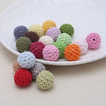ac spbest Round Wooden Crocheted Beads Colorful Woolen Teether Bead Toy Necklace-W128