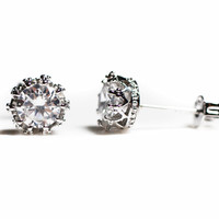 Sterling Silver Crown Cubic Zirconia Stud Earrings