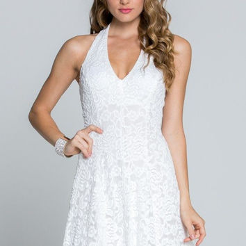 TRICKS OF THE TRADE WHITE LACE HALTER DRESS