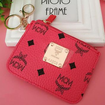 """MCM"" Popular Personality Leather Card Pack Card Bag Card Zipper Mini Thin Card Package Zero Wallet Rose Red I12551-1"