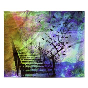 "AlyZen Moonshadow ""STAIRWAY"" Blue Tree Fleece Throw Blanket"