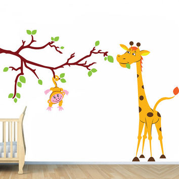 Vinyl Wall Kids Decal Monkey on Tree Branch with Giraffe / Art Home Baby Animals Sticker / Child Kids Room Decor + Free Random Decal Gift!