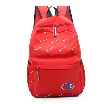 Champion Trending Women Men Casual Canvas School Backpack Travel Bag Red