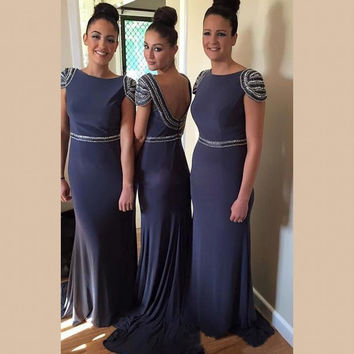 Elegant Beading Cap Sleeves Bridesmaid Dresses Navy 2016 Chiffon Backless Bridesmaid Gown Long Women Formal Wedding Party Dress