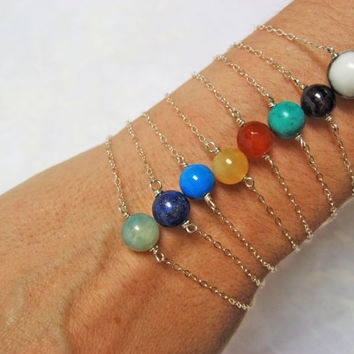 Gemstone Bracelet, 925 Sterling Silver, Multistrand Bracelet, Natural Stone Bracelet, Bridesmaid Gift, Delicate Jewelry, Layered Bracelet