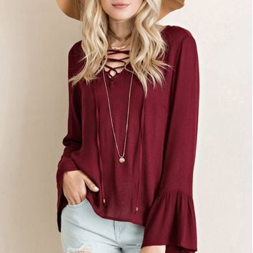 Lace Up Bell Sleeve Blouse   Burgundy