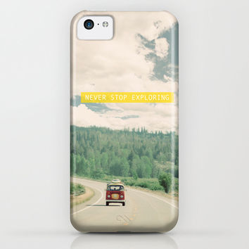 NEVER STOP EXPLORING - vintage volkswagen van iPhone & iPod Case by Leslee Mitchell