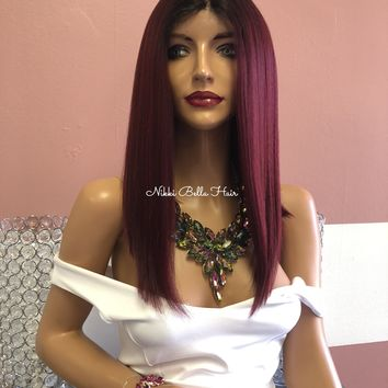 """Red Ombre Swiss Lace Front Wig 14""""