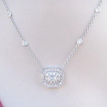 Striking Emerald Cut Diamond Halo Pendant Necklace with Diamond Station Chain, approx 1 carat, 18K White Gold, approx 1ctw
