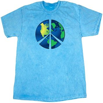 Buy Cool Shirts Peace Sign T-shirt Blue Earth Mineral Washed Tie Dye Tee