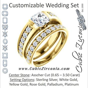 CZ Wedding Set, featuring The Rosemary engagement ring (Customizable Asscher Cut Tension Bar Set with Wide Channel/Prong Band)