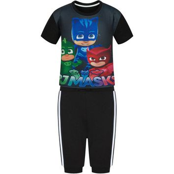 PSYDUCK Fashion PJ Masks Pattern Casual Children Sports Sets T shirt+Pants Boys Girls Summer Clothes Short Sleeve Striped Pants
