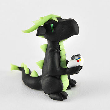 Black and green glow in the dark Xbox gamer dragon with an Xbox controller (made to order) - Xbox 360 - video games - dragon figurine