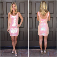 Perfectly Pink Sequin Mini Dress