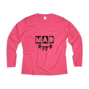MAD Fit Women's Long Sleeve Performance V-neck Tee