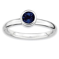Sterling Silver Stackable Expressions Low Set Round Cr. Blue Sapphire Ring