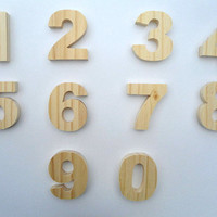"30cm/12"" Wooden Table Numbers, Wooden Free Standing for DIY Craft, Weddings, Celebrations, Parties events"