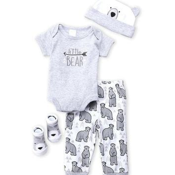 """4-PC """"Little Bear"""" Baby Boy Boxed Gift Outfit"""