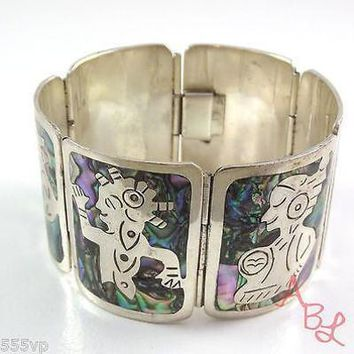 "Abalone Bracelet 8"" Mexican Southwest .925 Sterling Silver Inlay"