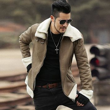 Trendy 2018 Men new winter brown Lambs woolen faux fur jacket metrosexual man warm thick European style motorcycle bikers jacket coat AT_94_13