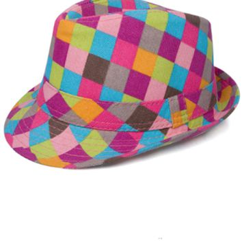 Multi-Colored Chekered Baby Prop Fedora Hat - CCHT106