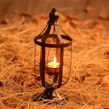 Metal Hollow Hanging Candlestick Lantern Beautiful Candle Holder Articles White Moroccan Candlestick Garden Decor Crafts