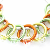 Medium snag free stitch markers for knitting | snag free stitchmarker | accessory | yellow, orange, green, rings; clear beads | #0122