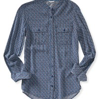 Long Sleeve Abstract Floral Woven Shirt