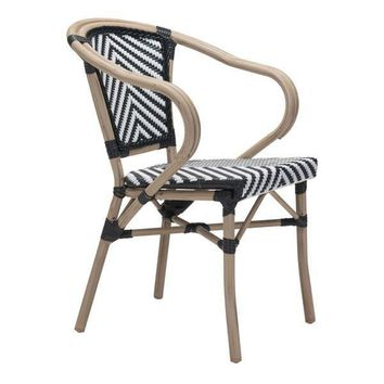 Paris Dining Arm Chair Black & White (Set Of 2)