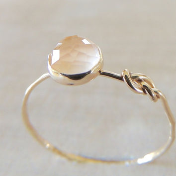 Rose Quartz Ring, Rose Gold Ring, Infinity Knot Ring, Symbol Ring, Friendship Gold Ring, Yellow Gold Ring, Stack Ring, 14k Gold Jewelry