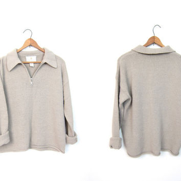 90s Minimal Pullover Vintage Taupe Zip Up Sweater Loose Fit CROPPED Sweater 1990s EXPRESS Tricot Preppy Jumper DELLS Women's Small