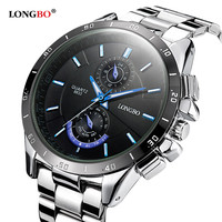 Longbo hot sports brand military diving quartz men's watch full steel waterproof fashion casual luxury watches relogio Masculino